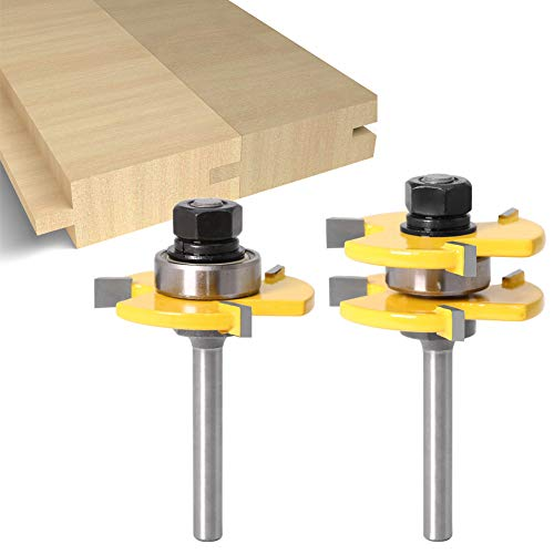 2 pcs Tongue and Groove Router Bit 1 4 Inch Shank Grooving Router Bits T Shape 3 Teeth Wood Milling Cutter,Mens Christmas Gifts