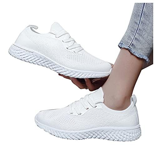 Winging Zapatillas de deporte voladoras para mujer de moda zapatillas ligeras con cordones Zapatos deportivos tejidos Transpirable y absorbente de sudor para correr encaje ligero
