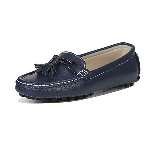 LUOBANIU Damen Mokassin Leder Slipper Bootsschuhe Slip-on Halbschuhe Damenschuhe Flache Schuhe mit Quast Blau 38 EU (7.5 US)