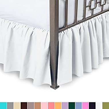 Harmony Lane Ruffled Bed Skirt with Split Corners - Queen, White, 18 Inch Drop Bedskirt (Available in All Sizes and 16 Colors)