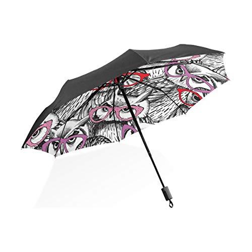 Regenschirm anpassen 3 Falten Weisheit Vogel Eulen Winddicht Anti-UV-Lightweight
