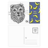 人間の赤ちゃん猫ペイント バナナのポストカードセットサンクスカード郵送側20個