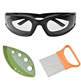 YCL Onion Goggles, Cataixy Onion Holder Set Tear Free Anti Fog Onion Glasses, Stainless Steel Onion Holder with Peeling Vegetable Leaf. Must Have Kitchen Gadget Set