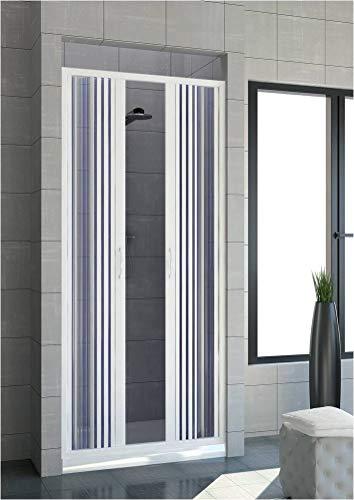 Box doccia estensibile in PVC a un lato due ante apertura centrale cm 120/130