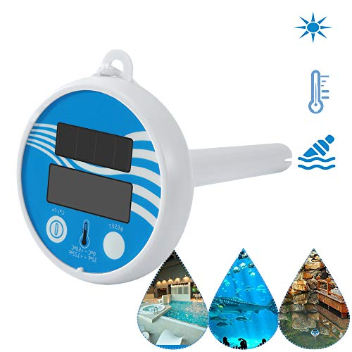 KKmoon Schwimmbad Thermometer Solarbetriebenes kabellos Wasserdicht Digital Poolthermometer Teich Spa Multifunktions-Wasser Raumtemperatur-Messgerät mit LCD-Display, Nylonseil
