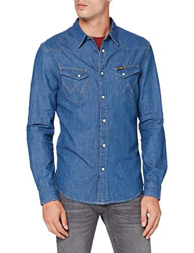 Wrangler Herren LS Western Shirt Freizeithemd, Mid Stone, L