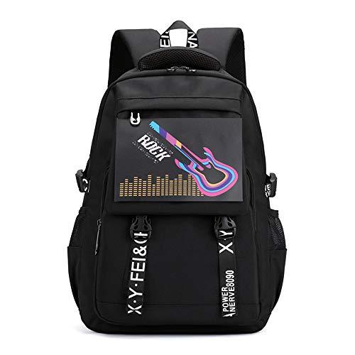 Eenvoudig en praktisch, verlichte rugzak, casual, voor dames en heren, schoudertas, reistas, laptoptas, 17 inch, 30 x 45 cm, zwart/G.
