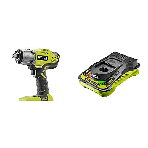 Ryobi R18IW3-0 18V ONE+ Cordless 3-Speed Impact Wrench (Body Only) & RC18150 18V ONE+ Cordless 5.0A Battery Charger