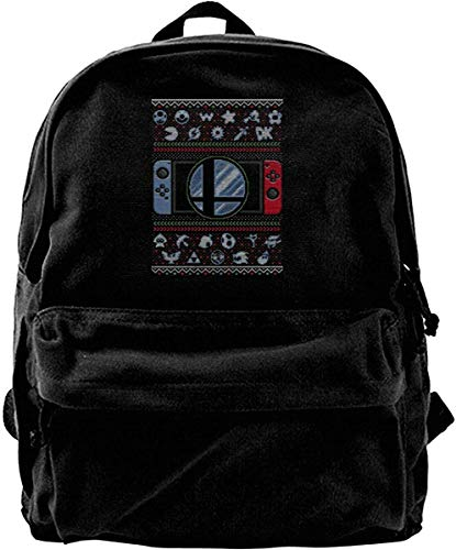 Canvas Backpack Super Smash Bros Ultimate Christmas Switch Knit Pattern Rucksack Gym Hiking Laptop Shoulder Bag Daypack for Men Women