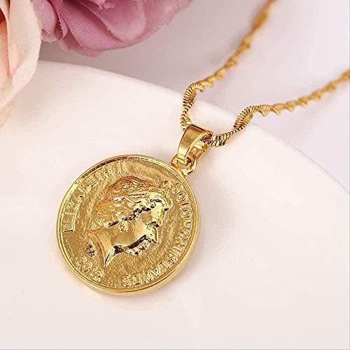 ZGYFJCH Co.,ltd Collar Islas Salomón 10 Cent Color Dorado y latón Árabe/Africano Colgante Collar Mujeres Niñas Regalo