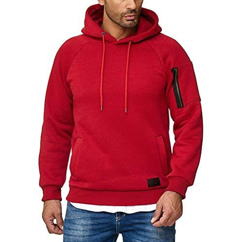 Xmiral Herren Sweatshirt Top Herbst Langarm Plaid Hoodie Mit Kapuze T-Shirt Outwear(XXL,Marine Blau)