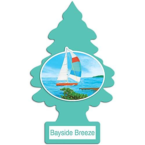 LITTLE TREES O aromatizador de ar para carro I para pendurar a árvore oferece um perfume de longa duração para Auto ou Home I Bayside Breeze, 24 unidades, (4) 6 pacotes