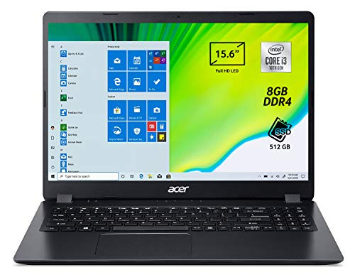 "Acer Aspire 3 A315-56-35MW Pc Portatile, Notebook con Processore Intel Core i3-1005G1, Ram 8 GB DDR4, 512 GB PCIe NVMe SSD, Display 15.6"" FHD LED LCD, Intel UHD, Windows 10 Home, Nero"