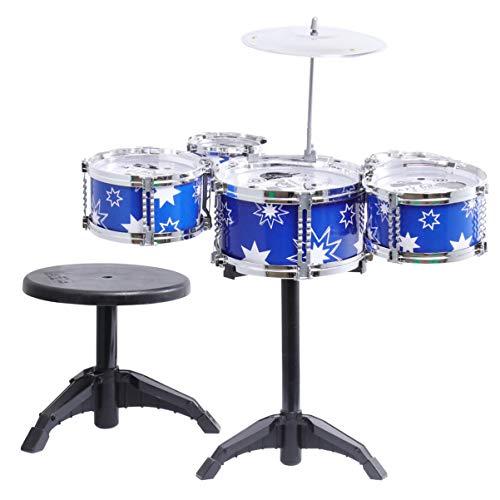 STOBOK Kinder Jazz Drum Set Drumsticks Beckenhocker Stuhl Musikinstrumente Lernspielzeug für Kinder Kleinkind (Blau)