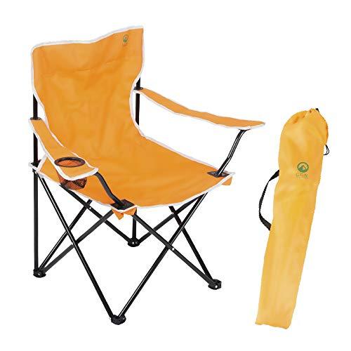【Amazon限定ブランド】ジージーエヌ(G.G.N.) チェア オレンジ 折りたたみ ドリンクホルダー付き アウトドア GN02CM004O