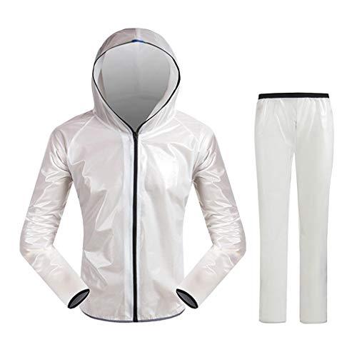 JKL Chubasquero impermeable para hombre (chaqueta y pantalón), impermeable impermeable para ciclismo, con sombrero, para senderismo, al aire libre/camping (color: blanco, tamaño: 3XL)