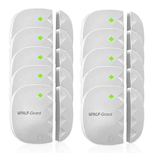 """Wolf-Guard Seguridad inalámbrica con alarma de la ventana de la puerta de 433 MHz (2 """"x2"""", blanco, paquete de 10)"""