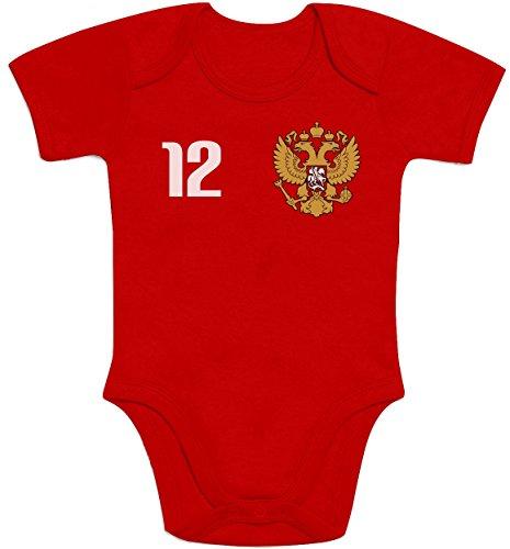 Shirtgeil Russland Baby Fan Trikot zur EM 2020 Baby Body Kurzarm-Body 3-6 Monate Rot