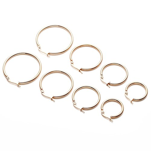 PiercingJ 8pcs 20G 20mm 25mm 30mm 35mm Women's Stainless Steel Silver Golden Rose Gold Small Round Hoop Earrings