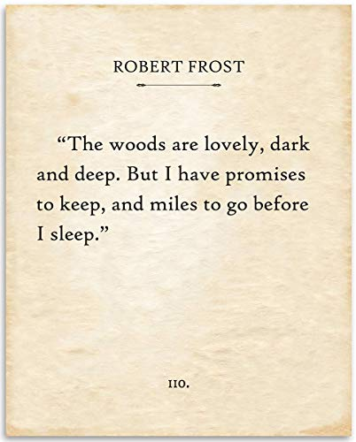Robert Frost - The Woods Are Lovely - 11x14 Unframed Typography Book Page Print - Great Gift for Poetry and Literary Fans Under $15
