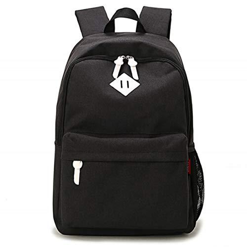 Lisirs Unisex Classic Water Resistant Schulrucksack Leichte Lässige Bag Passt 15 Zoll Laptop für Männer Frauen Schwarz