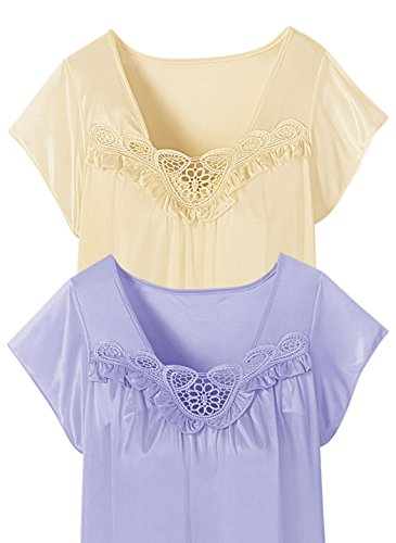 Carol Wright Gifts 2-Pack Short Sleeve Tricot Nightgowns, Yellow/Lilac, Size Large
