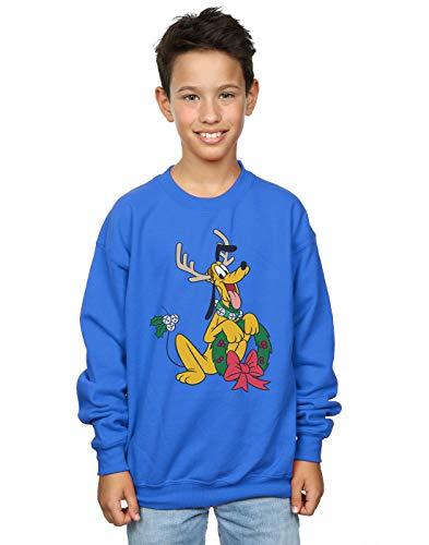 Disney Boys Pluto Christmas Reindeer Sweatshirt Royal Blue 9-11 Years