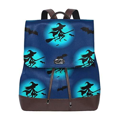 sunminey Damen Lederrucksack Witch Silhouette Hat Flying Women's Leather Backpack Travel Casual Elegant Drawstring Shoulder Bag Travel Bags