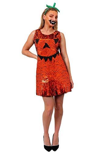 Déguisement de citrouille avec cette robe orange à paillettes + un mini chapeau haut de forme vert orné d'un voile pour adulte. Ideal pour les fêtes d'Halloween ou les enterrements de vie de jeune fille. ( Large )
