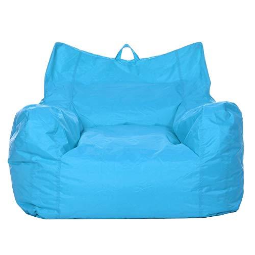 ZYSTMCQZ Cómoda funda de sofá perezoso, sin relleno, tela Oxford, impermeable, reclinable, puf de asiento, cojín y taburete Tatami (color azul)