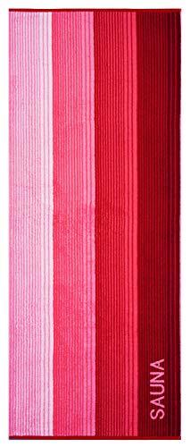 Lashuma Weiches Strandlaken Riga, Liege Badehandtuch 80x200 cm, Sauna Handtuch Rot, Gestreiftes Frottee Saunalaken