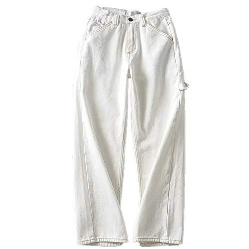 U/A Jeans da donna a vita alta con cuciture bianche pantaloni in denim gamba dritta bianco S