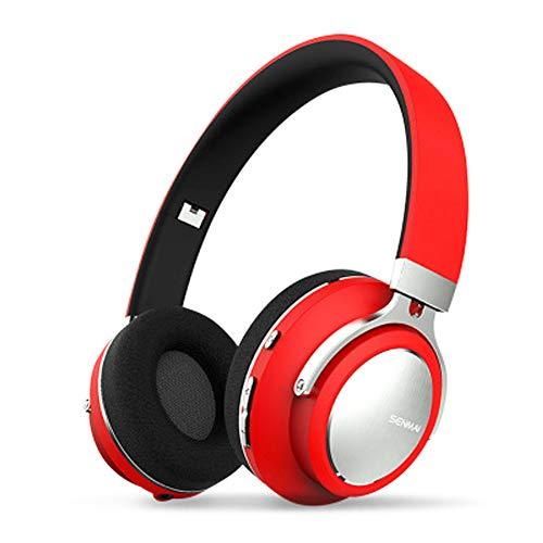 TNXB XHN Écouteurs Supra-Auriculaires à Suppression de Bruit sans Fil - Cache-Oreilles en protéine mémoire Souple et Pliable, 10 Heures de Trajet/Travail/TV/Ordinateur/Temps de Jeu Mobile-Red
