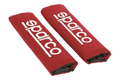Sparco SPC1204RD Protezioni per Cintura di Sicurezza, Rosso, Set di 2