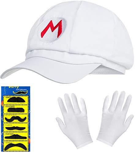 Balinco Super Mario Mütze weiß im Komplettset mit weißen Handschuhen und Klebe-Bärten für Erwachsene und Kinder Karneval Fasching Motto Party Verkleidung Kostüm Mützen Hut Cap Herren Damen Kappe