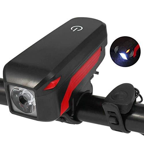 ACECYCLE Luz Bicicleta Delantera y Trasera Recargable Linterna Bicicleta LED 4 Modos de luz y 5 Modos de Sonido Faros Impermeable con Bici Campana para Carretera Montaña Emergencia Noche Ciclismo