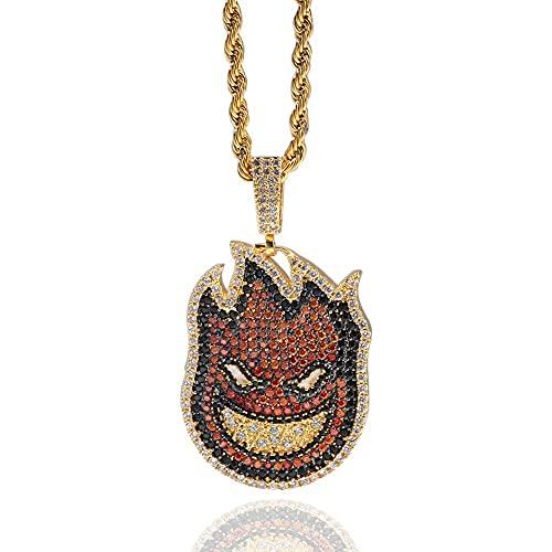 AMOZ Collar pequeño hombre de fuego colgante con diamante de doble cara forma Hip Hop hombres y mujeres collar joyería regalos joyería joyería con cadena de cuerda