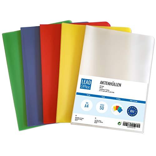 50 Aktenhüllen bunt DIN A4, Dokumenten-Hüllen oben & seitlich offen, farbige Klarsicht Schutz-Hüllen für Dokumente & Papier, dokumentenecht & genarbt