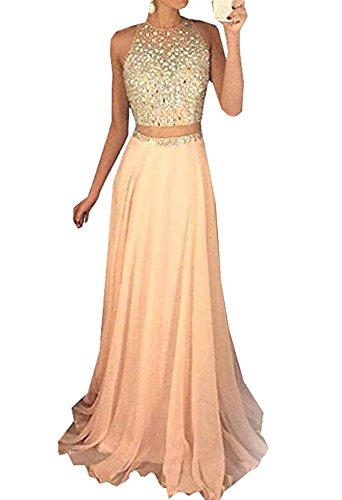 Special Bridal Zweiteilige Ballkleider Halfter Partykleid Lange Abendkleid Perlen Abschluss Kleid