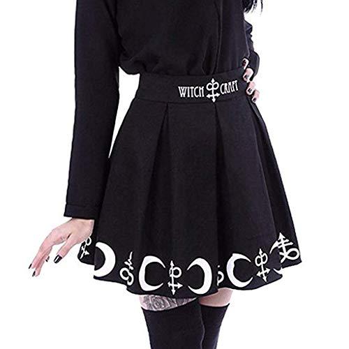 FRAUIT Damen Gothic Röcke Punk Mond Drucken Plissee Mini Rock High-Taille A-Line Taschen Rock Skater Plisseer Rock Kleid