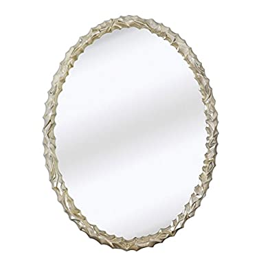 Majestic Mirror Contemporary Oval Shaped Silver Framed Glass Wall Mirror