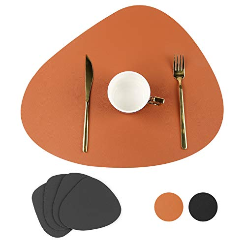 Placemats, Washable Leather Placemats Set of 4 with Square Glass Coasters, for Dining Table Table Mat as Dining Table Decoration for Home Restaurant & Christmas (Triangle, Black & Brown)