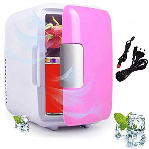 Mini Refrigerador del Coche, Refrigerador De Doble Uso De La Caja del Calentador del Refrigerador De 4L Food Drinkes, Refrigerador De Coche Portátil De 12 V para Camión De Yate De Oficina RV,Rosado