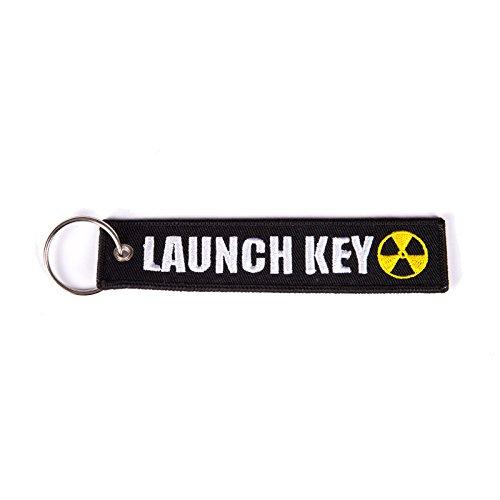 Schlüsselband Launch Key, schwarz weiß gelb Schlüsselanhänger mit Atomsymbol