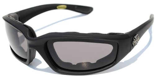 Chopper Night Driving Riding Padded Motorcycle Glasses (Black Frame with Yellow Smoke Lens)