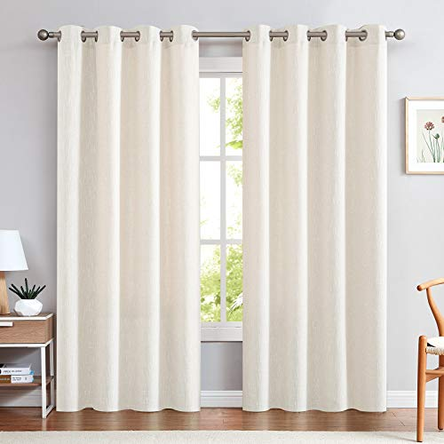 jinchan Linen Textured Off White Linen Look Curtains for Bedroom 84 Inches Length Window Treatments Drapes 2 Panels