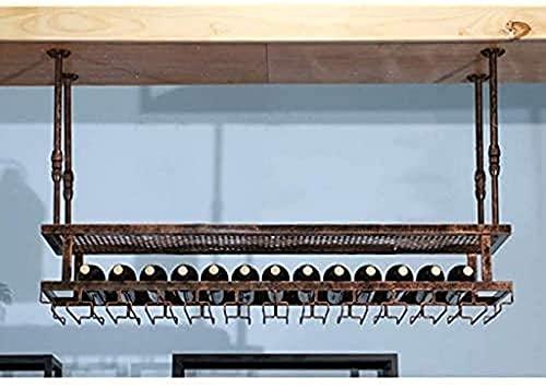 Suporte para vinho, teto, suporte para vinho, bar, restaurante, suporte para taças de vinho, teto para casa em ferro fundido 2 camadas Suporte para talheres suspensos em altura ajustável mul