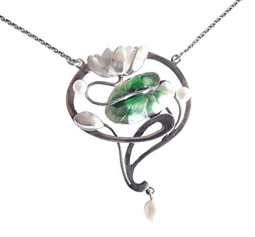 Collier Seerose Damen 925 Silber Email Perlen Jugendstil