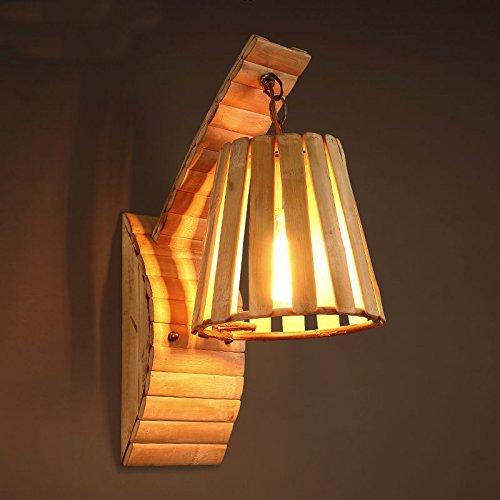 Nouvelle américaines Applique murale antique en bois homme Café du lit Gang couloir chambre Véranda mur Lampes, ampoules Éclairage