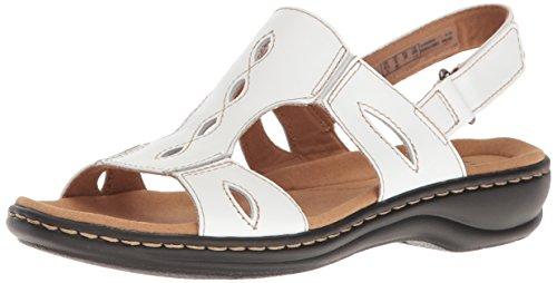 Clarks Women's Leisa Lakelyn Flat Sandal, White Leather, 5 M...